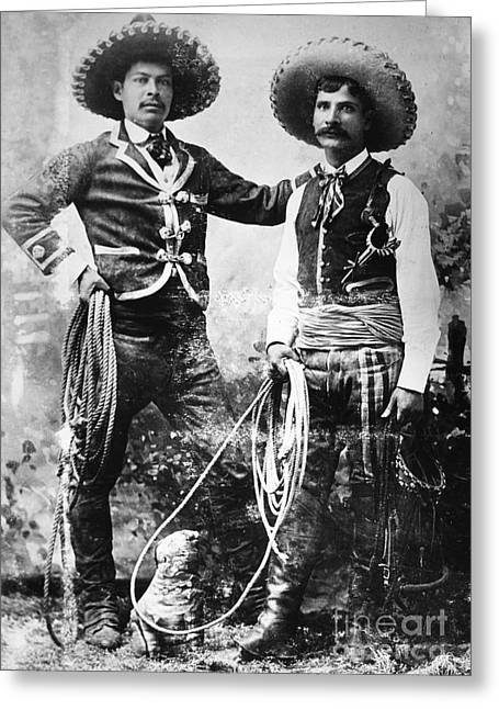Westward Expansion Greeting Cards - COWBOYS, c1900 Greeting Card by Granger