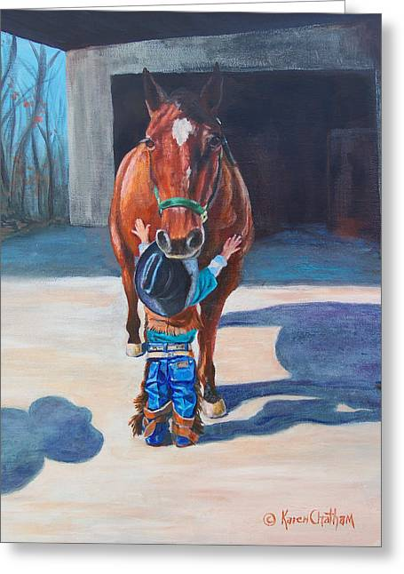 Cowboy's First Love Greeting Card by Karen Kennedy Chatham