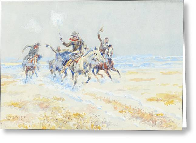 On The Plains Greeting Cards - Cowboys on the Plains Greeting Card by Celestial Images