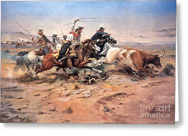 Cow Paintings Greeting Cards - Cowboys roping a steer Greeting Card by Charles Marion Russell