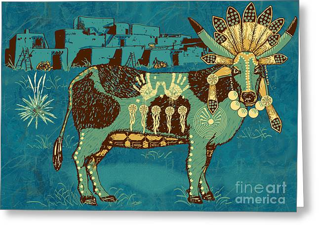 Native American Illustration Greeting Cards - Cowchina Greeting Card by Laura Brightwood