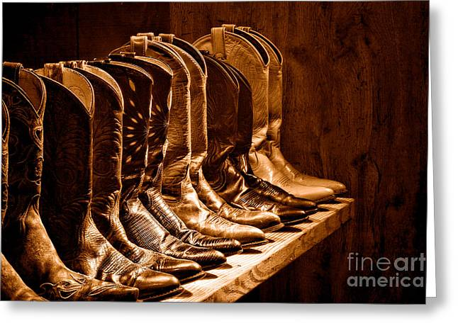 Cowgirl Boots Collection -sepia Greeting Card by Olivier Le Queinec