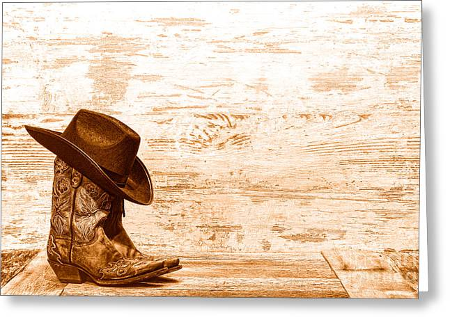 Cowgirl Boots - Sepia Greeting Card by Olivier Le Queinec