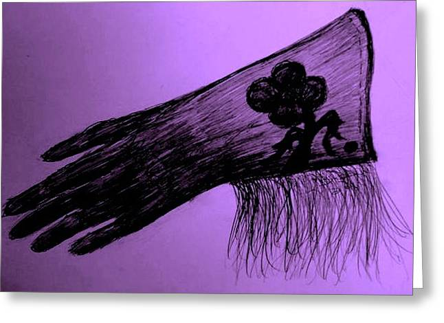 Leather Glove Drawings Greeting Cards - Cowgirl Glove Plum Classy Greeting Card by Susan Gahr