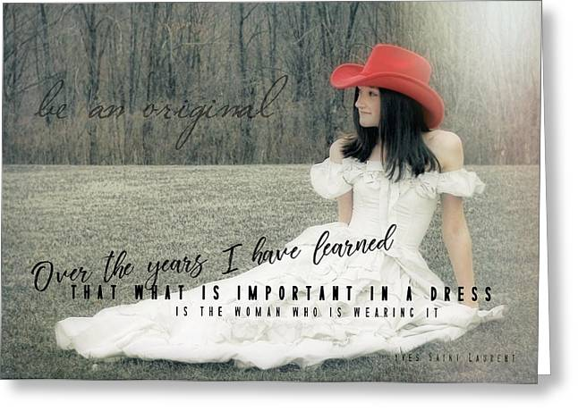 Yves Saint Laurent Greeting Cards - COWGIRL RED quote Greeting Card by JAMART Photography