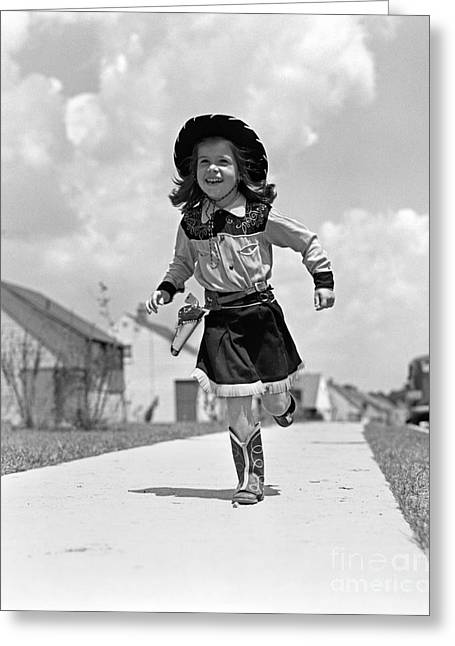 Cowgirl Running Down Sidewalk, C.1950s Greeting Card by H. Armstrong Roberts/ClassicStock