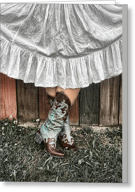 Cowgirl Skirt Greeting Cards - Cowgirl Skirt with Boots Greeting Card by Sharon Popek
