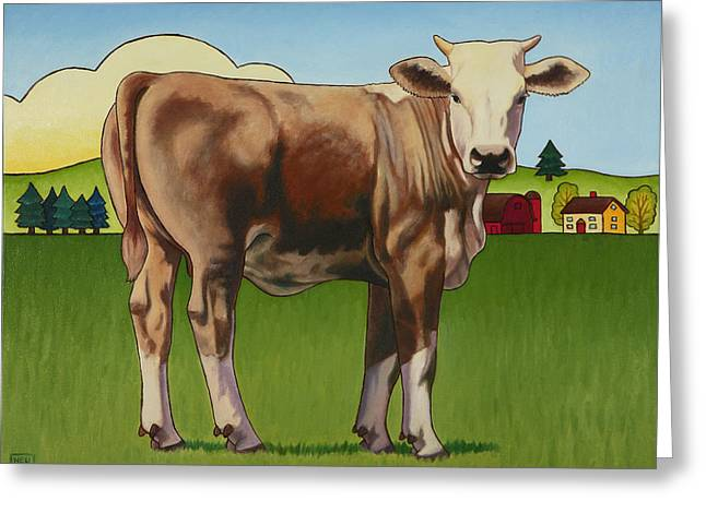 Bovine Greeting Cards - Cowgirl Greeting Card by Stacey Neumiller