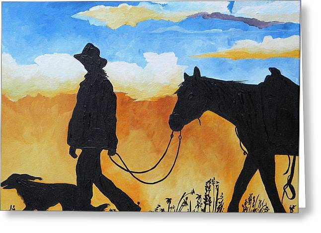 Texas Cowgirl Greeting Cards - Cowgirl Sunset Greeting Card by Patti Schermerhorn