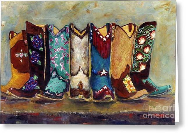 Cowgirl Greeting Cards - Cowgirls Kickin the Blues Greeting Card by Frances Marino