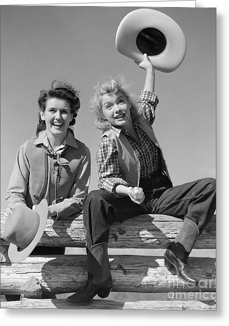 Cowgirls Sitting On A Fence, C.1940s Greeting Card by H. Armstrong Roberts/ClassicStock