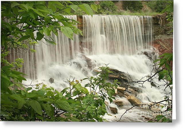 Fishing Creek Greeting Cards - Cowley Falls Greeting Card by E B Schmidt