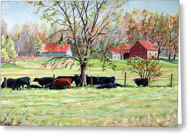 Cows Grazing In One Field  Greeting Card by Richard T Pranke