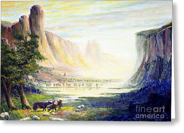 Bierstadt Greeting Cards - Cows in the Mountain Greeting Card by Wingsdomain Art and Photography