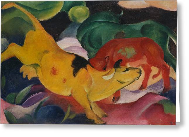 Cows Yellow Red And Green Greeting Card by Franz Marc