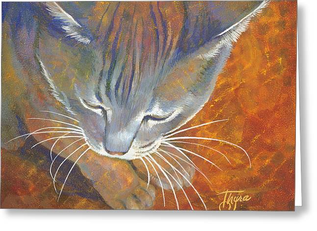 Coy Cat Greeting Card by Thyra Moore