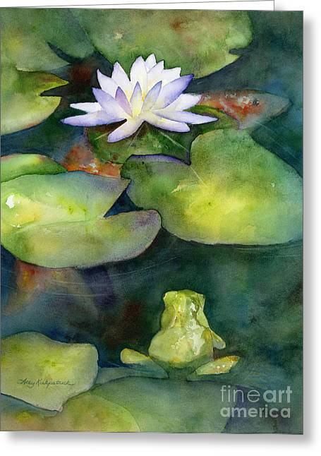 Lotus Blossoms Greeting Cards - Coy Koi Greeting Card by Amy Kirkpatrick