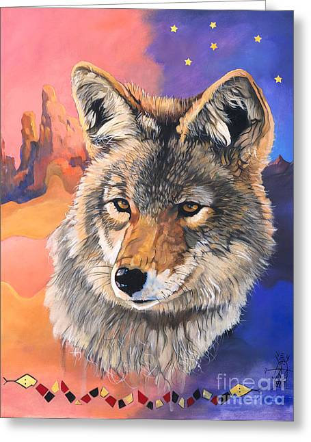 Coyote The Trickster Greeting Card by J W Baker