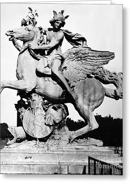 Greek Sculpture Greeting Cards - Coysevox: Mercury & Pegasus Greeting Card by Granger