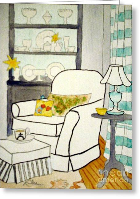 Interior Still Life Paintings Greeting Cards - Cozy Corner Greeting Card by Eileen Tascioglu
