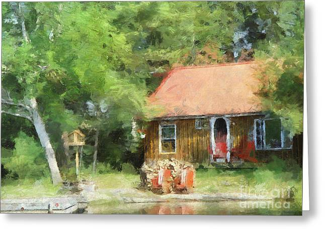 Historic Home Greeting Cards - Cozy Cottage  Greeting Card by Claire Bull