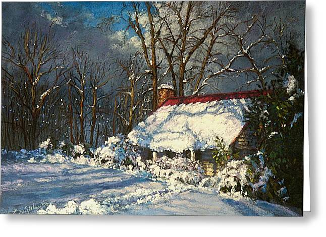 Snow Scene Pastels Greeting Cards - Cozy in the Snow Greeting Card by L Diane Johnson