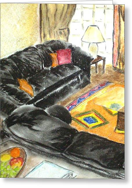 Lounging Pastels Greeting Cards - Cozy Indoors Greeting Card by Sarah Khalid Khan