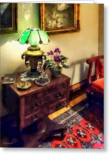 Cozy Parlor With Flower Petal Lamp Greeting Card by Susan Savad