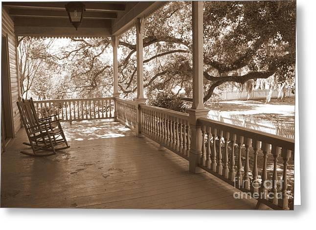 Front Porches Greeting Cards - Cozy Southern Porch Greeting Card by Carol Groenen