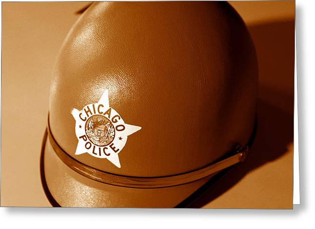 Chicago Police Motorcycle Helmet Greeting Card by David Lee Thompson