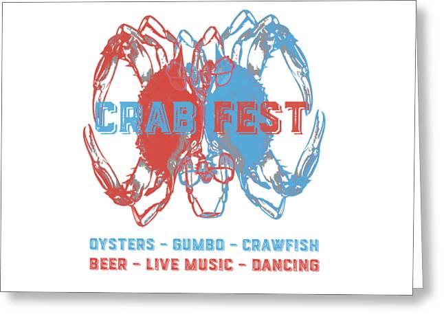 Crab Fest Tee Greeting Card by Edward Fielding