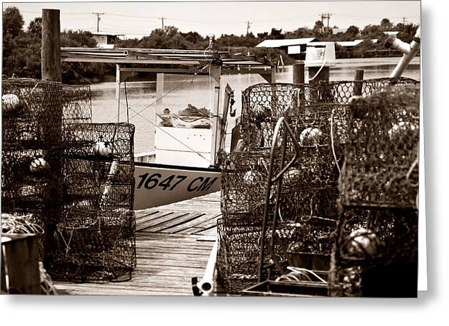 Crab Traps Greeting Cards - Crab Traps And Boat Greeting Card by Sven Brogren