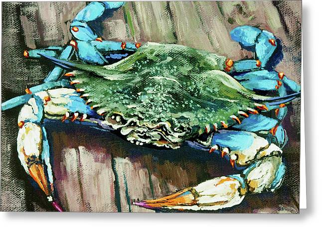 Crab Greeting Cards - Crabby Blue Greeting Card by Dianne Parks