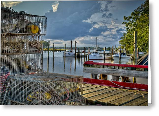 Pot Boat Greeting Cards - Crabpots and Fishing Boats Greeting Card by Williams-Cairns Photography LLC
