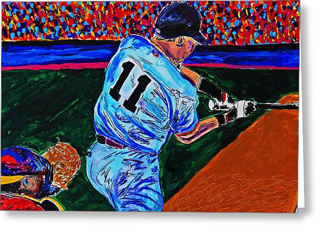 Crack Of The Bat - Abstract Baseball Series Greeting Card by Nicholas Vitale