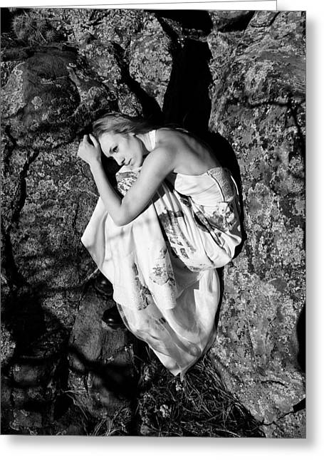 Woman Curled Position Greeting Cards - Cracked Greeting Card by Scott Sawyer