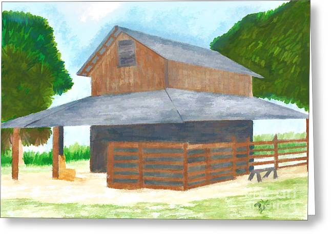 Pencil On Canvas Greeting Cards - Cracker Barn - Drawing Greeting Card by D Hackett