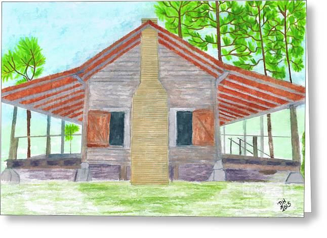 Pencil On Canvas Greeting Cards - Cracker House - Florida Greeting Card by D Hackett