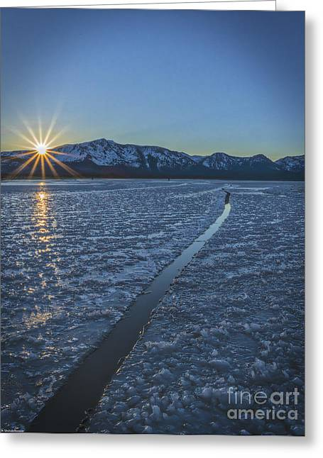 The Sun God Greeting Cards - Cracks In The Ice Greeting Card by Mitch Shindelbower