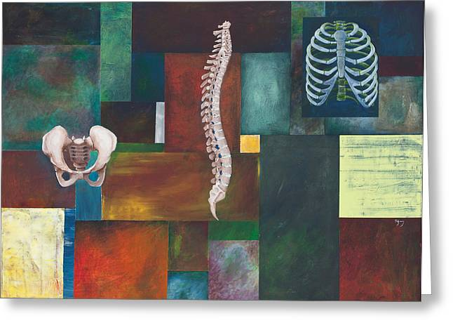 Rib Cage Greeting Cards - Cradle Column Cage Greeting Card by Sara Young