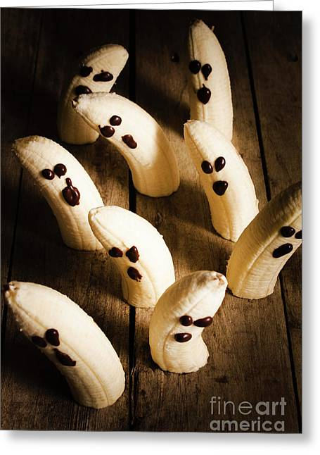 Crafty Ghost Bananas Greeting Card by Jorgo Photography - Wall Art Gallery