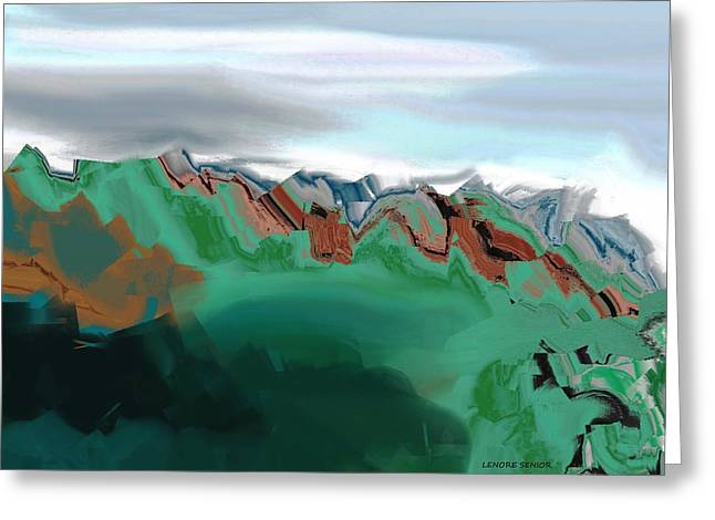 Colorful Cloud Formations Paintings Greeting Cards - Crags and Canyons Greeting Card by Lenore Senior
