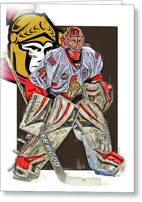 Craig Anderson Ottawa Senators Oil Art Greeting Card by Joe Hamilton