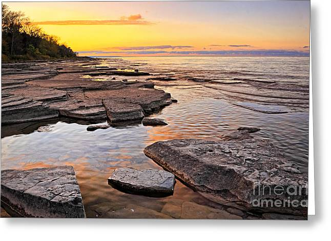 Sunset Reflections On Rock Millions Years Old Greeting Card by Charline Xia