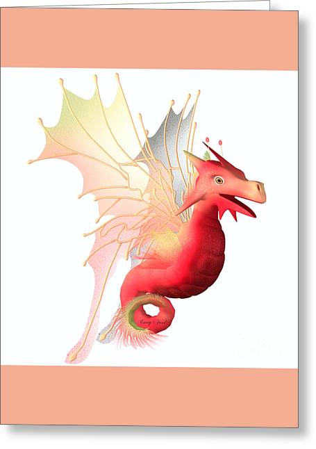 Faerie Tale Greeting Cards - Cranberry Faerie Dragon Greeting Card by Corey Ford
