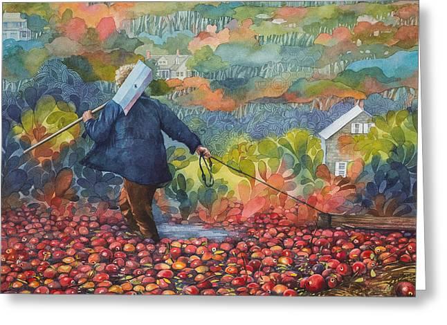 Harvest Art Greeting Cards - Cranberry Harvest Painting Greeting Card by Ezartesa Art
