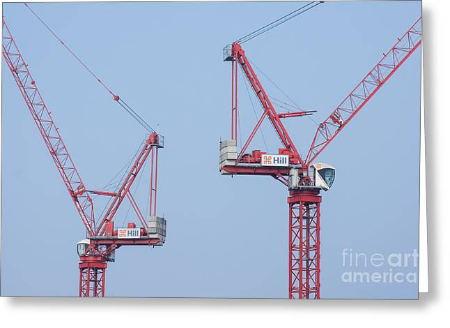 Residential Structure Greeting Cards - Cranes 1 Greeting Card by Marcin Rogozinski