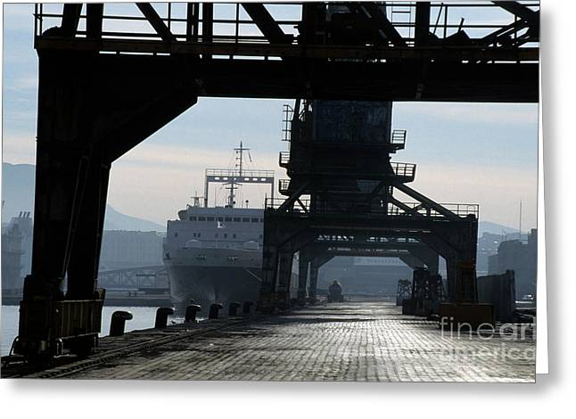 Freight Transportation Greeting Cards - Cranes at the waterfront docks Greeting Card by Sami Sarkis