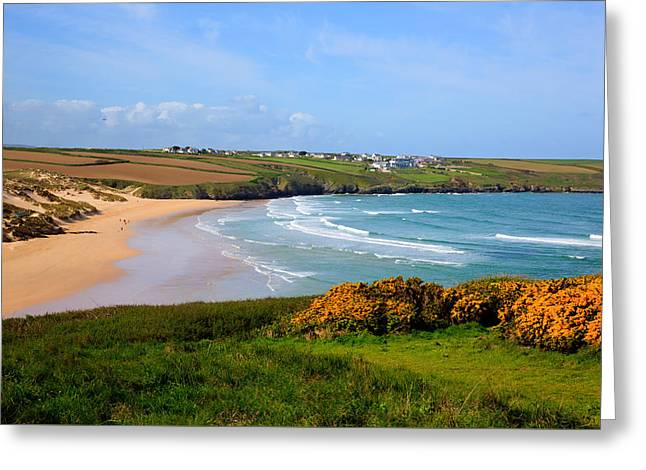 Surfer Magazine Photographs Greeting Cards - Crantock bay and beach North Cornwall England UK near Newquay with waves in spring Greeting Card by Michael Charles