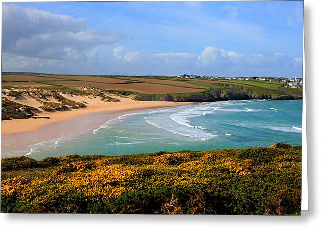 Surfer Magazine Photographs Greeting Cards - Crantock beach and yellow gorse North Cornwall England UK Greeting Card by Michael Charles